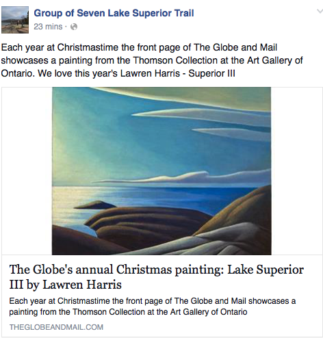 Group of Seven Lake Superior trail photo of Lawren Harris painting