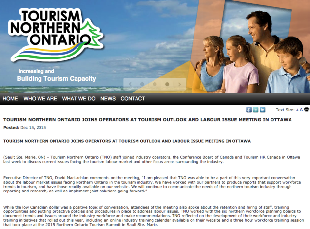 TOURISM NORTHERN ONTARIO JOINS OPERATORS AT TOURISM OUTLOOK AND LABOUR ISSUE MEETING IN OTTAWA