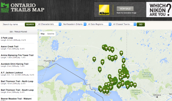 Northeastern Ontario Trails from Ontwario Trails Map