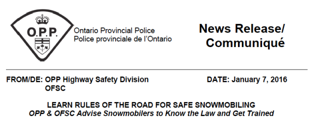 OPP OFSC Joint Statement on Snowmobile Safety